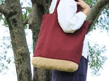 linen basket bag / wine red ▷