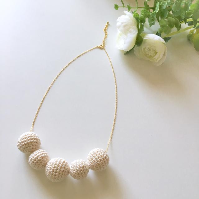 まんまるコットンを編んだネックレス(...