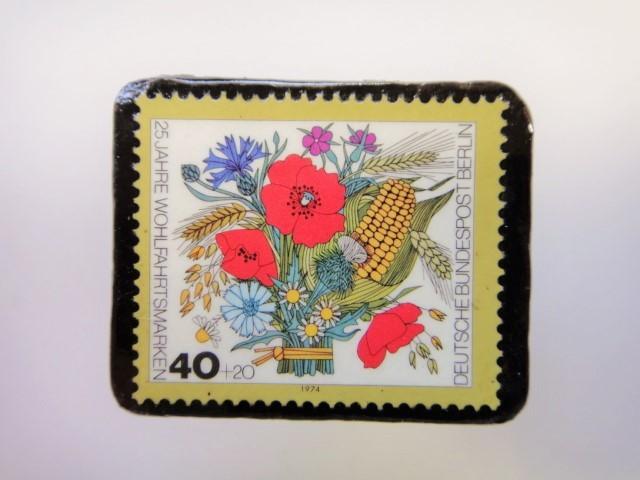 ドイツ 花束切手ブローチ2501