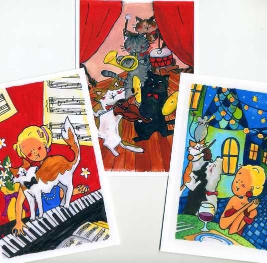 猫のポストカード3枚set 「音楽とネコ」