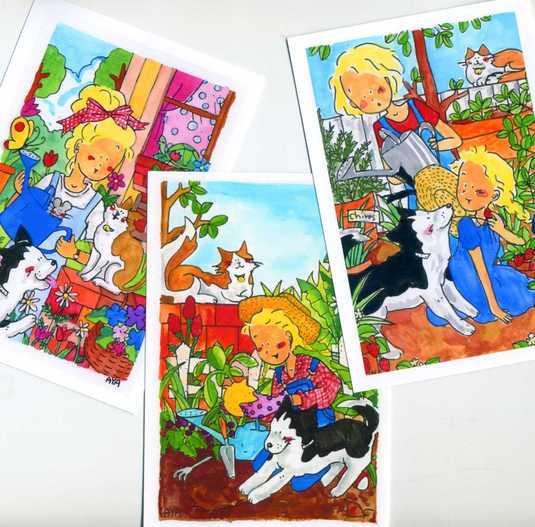 ガーデニング ポストカード3枚set 「暖かな春」