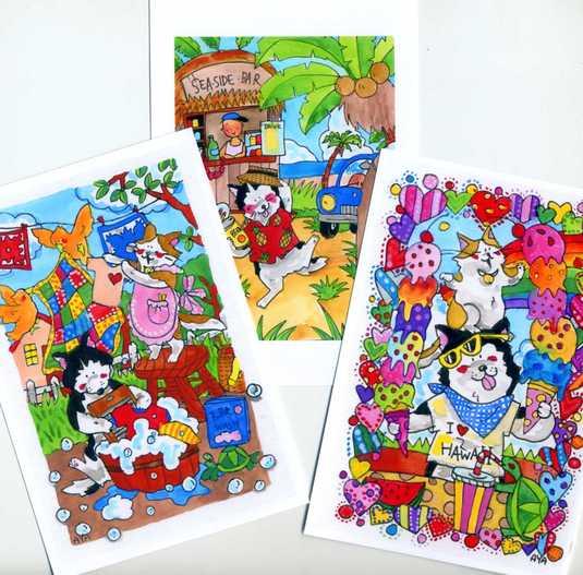 犬のポストカード3枚set 「トロピカル犬」