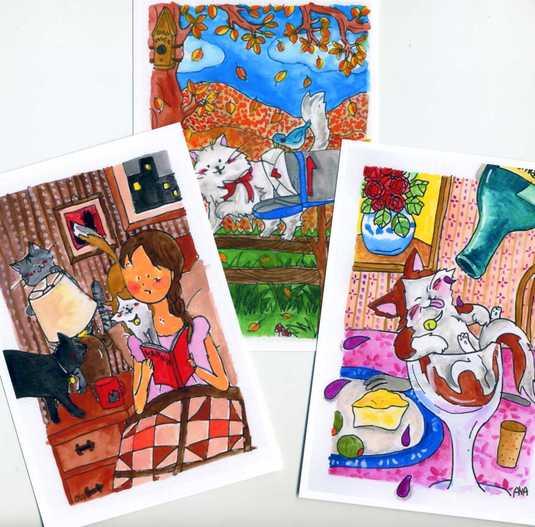 猫のポストカード3枚set 「秋色ネコ」