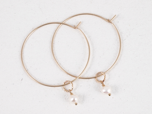 14KGF Petit Charm Hoops WH