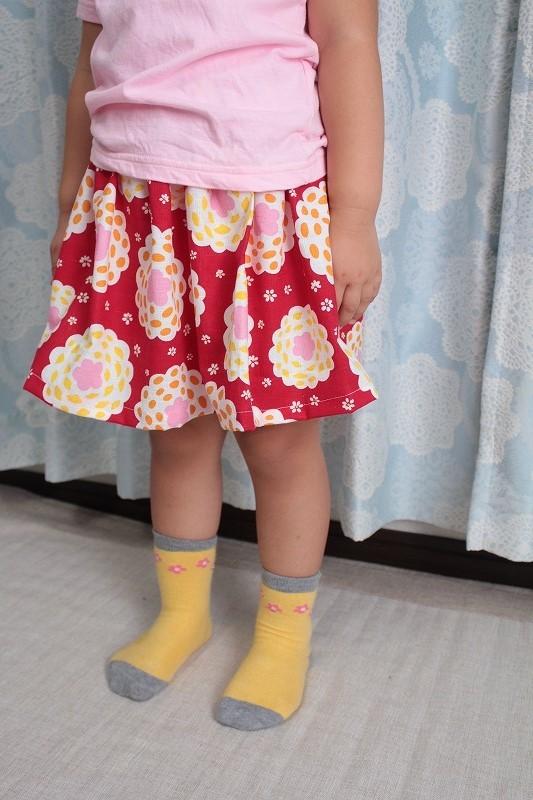 子供用スカート お花(赤地)