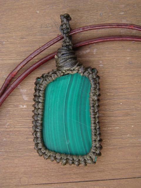 天然石マラカイト マクラメ編みネックレス