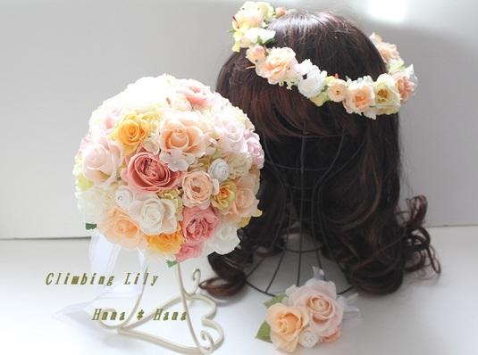 プリザ ウェディングブーケ、花冠、ブートニアセット。色変更OK