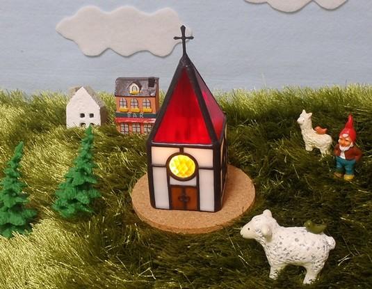 【再販】赤い屋根の教会ステンドグラスLEDキャンドルライト