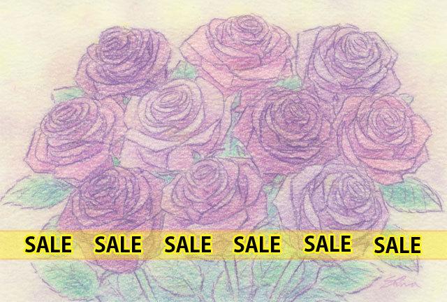 紫のバラ(151209)★手描き原画★