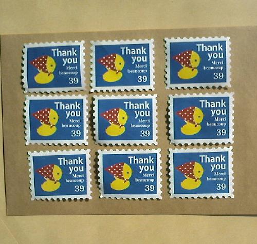 切手型水貼りシール(ヒヨコ)