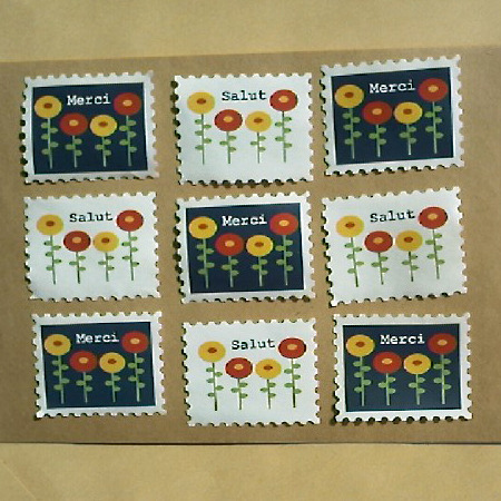 切手型水貼りシール(オハナ)
