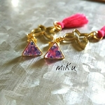 ~♥Swaying triangle butterfly tassel♥~ピアス