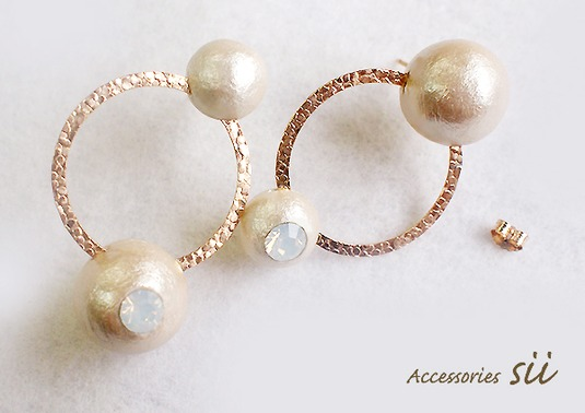 cotton pearl pierce/ring