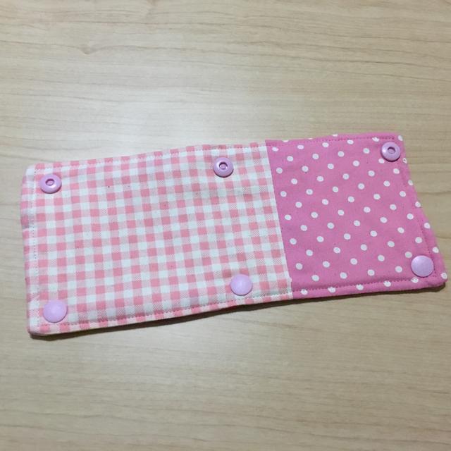 水筒ひもカバー☆ピンク☆ドット&チェッ...