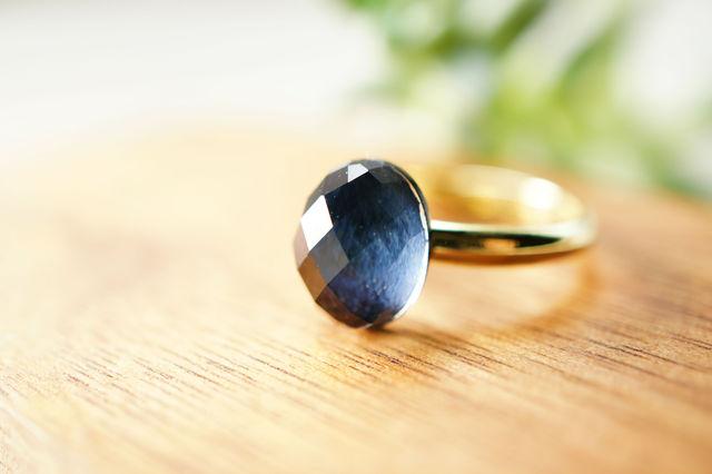 再販】フリーサイズ★青虎目石・水晶のリング 〜Kukka