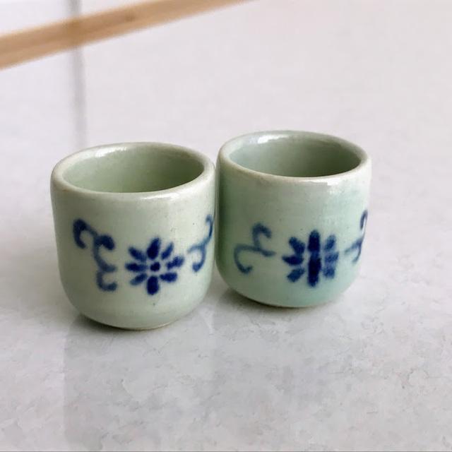 ミニチュア☆陶器 ゆのみ 花唐草 二客組