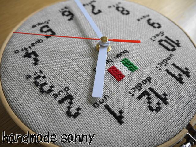 イタリア リネン生地 刺しゅう時計