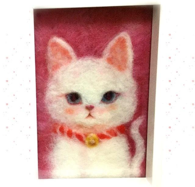 白猫の羊毛絵