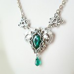 silver victorian gothic necklace-Emerald- ヴィンテージ
