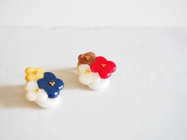 ::::新色::::tres flores イヤーカフ【レッド・ネイビー】