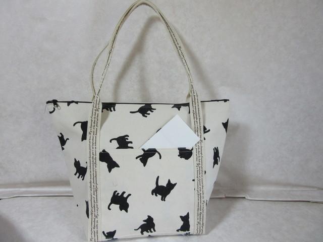 猫シルエットトートバッグ