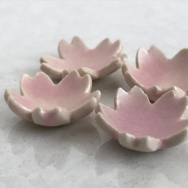 ミニチュア陶器☆ 花小皿 4枚組