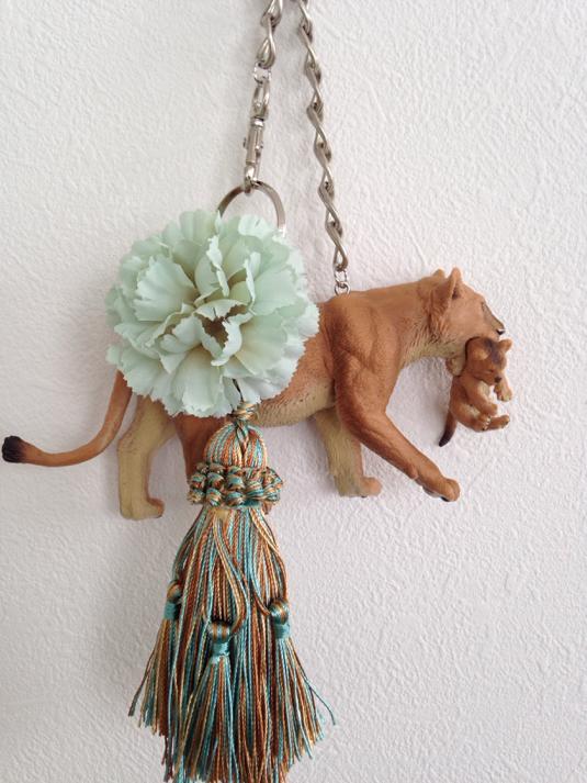 【SALE】親子ライオンのバッグチャーム(グリーン)