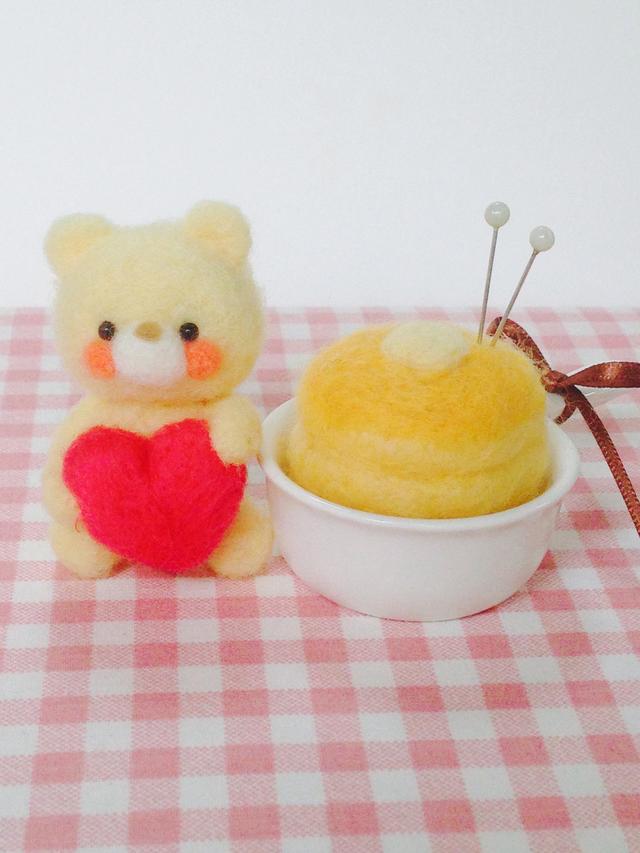 ハートのくまちゃんとホットケーキ(濃)...