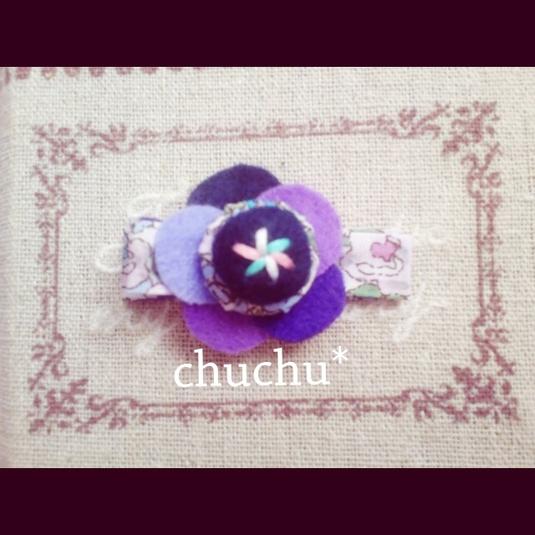 【sold out】刺繍入りお花のヘアピン?
