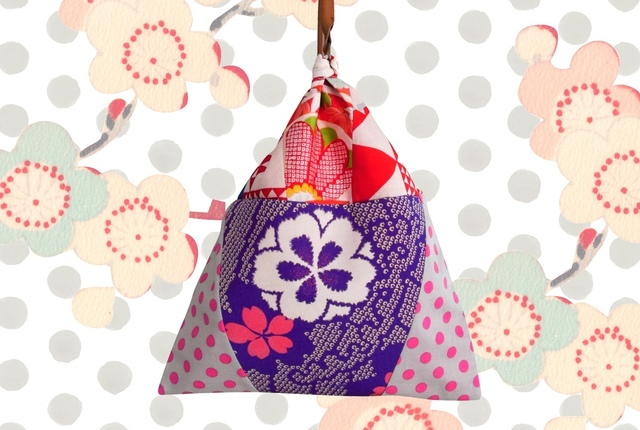 アンティーク着物ハンドバッグ絞り桜
