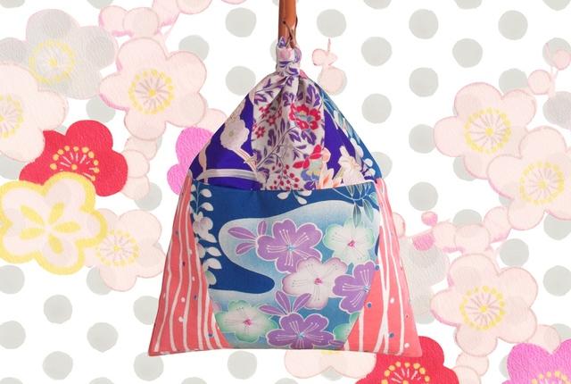 アンティーク着物ハンドバッグ藤色桜