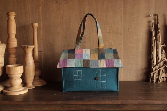 OUCHI box bag L   ピーコックブルー+...