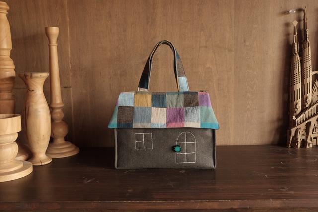 OUCHI box bag S  ブラウン+モザイク屋根