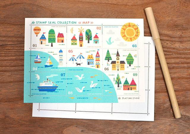 切手風シール【MAP】