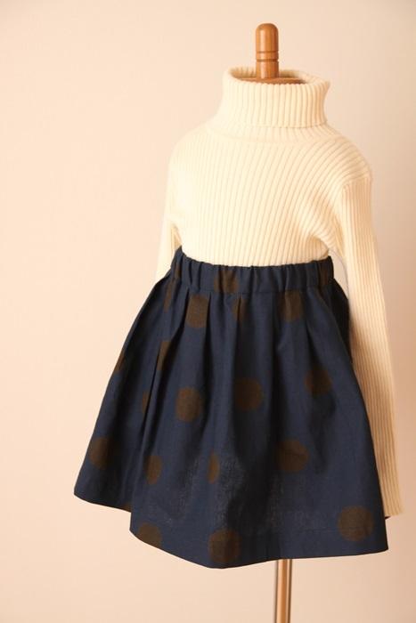 受注生産シックドット*ネイビー*タックフレアスカート 80〜90