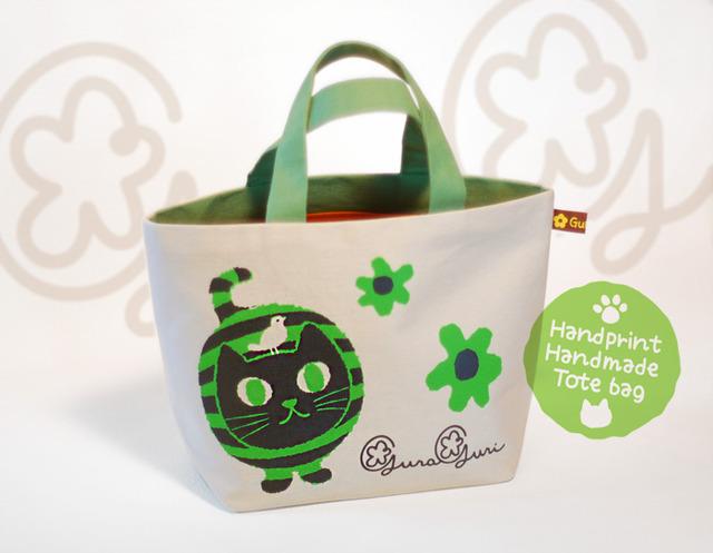 GuraGuri|ランチトートバッグ|グリーンの丸い猫
