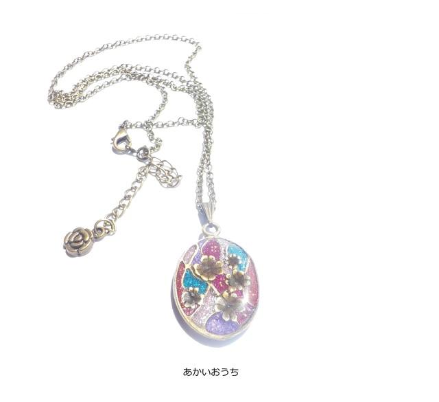 ステンドグラス風 楕円のお花 ネックレス