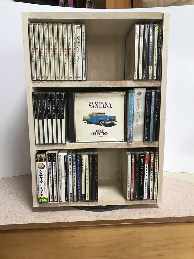 回転式CD-DVD棚3段棚高135 キット