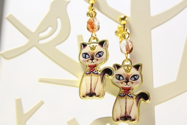 再☆王冠のネコ☆イヤリング