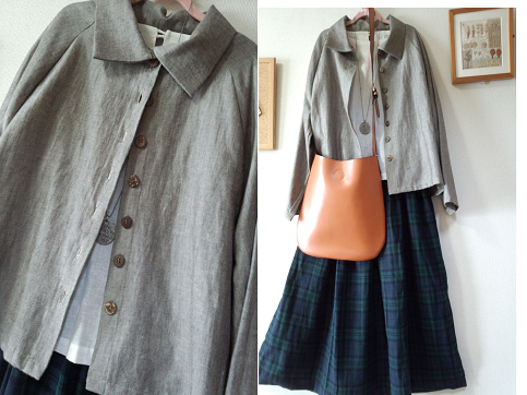 M~Lサイズ 綿麻の茶系のジャケット