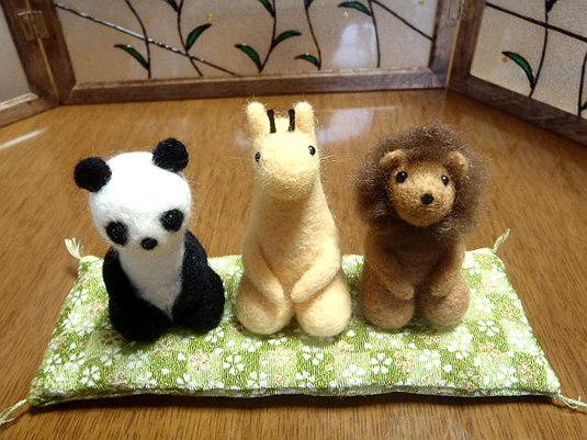 羊毛フェルト 鎮座する動物たち