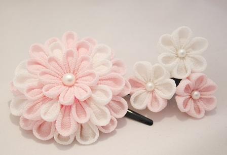 重ね付け お花ヘアピンセット つまみ細工