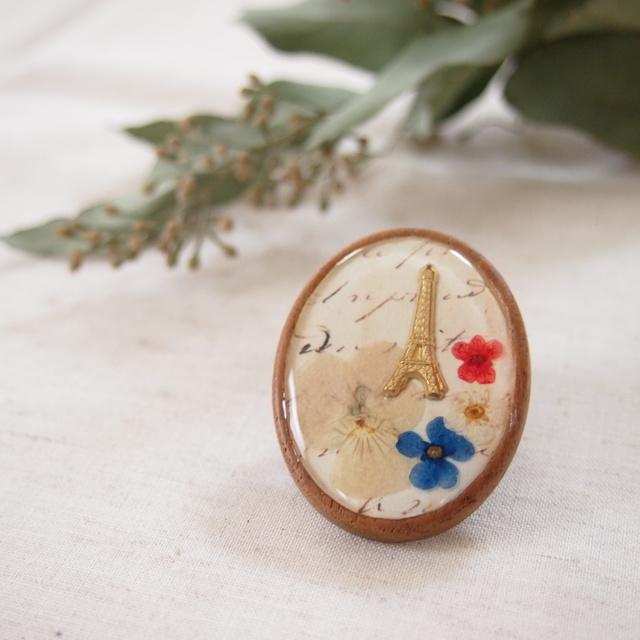 花の都パリ エッフェル塔の木製ブローチ