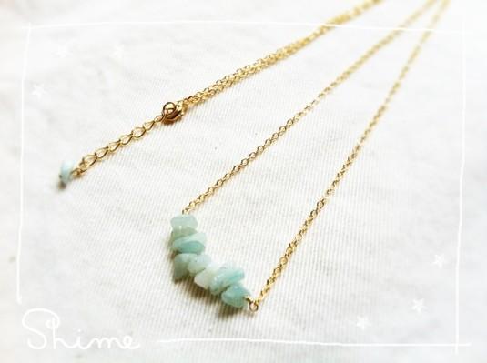 stone necklace【sherbet blue】