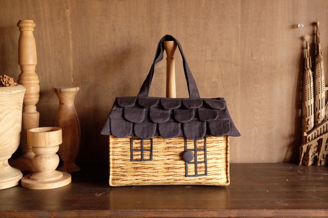 OUCHI box bag L  バスケット柄プリント