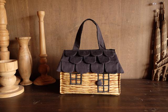 OUCHI box bag S  バスケット柄プリント