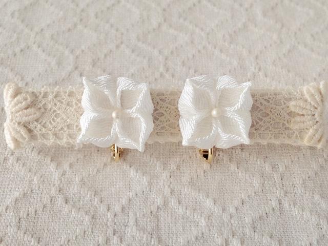 〈つまみ細工〉紫陽花のイヤリング(白)