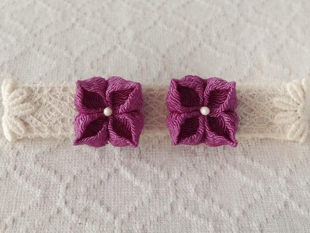 〈つまみ細工〉紫陽花のピアス(若紫)