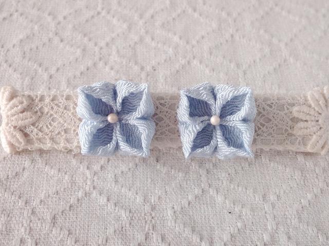 〈つまみ細工〉紫陽花のピアス(水色)
