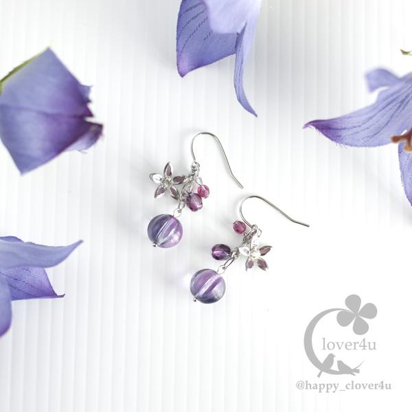 桔梗(ききょう)のピアス・紫系グラデ/p737